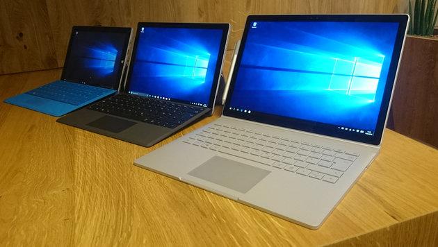 Das Surface Book (rechts) ist Microsofts erster selbst entwickelter Laptop. (Bild: Dominik Erlinger)