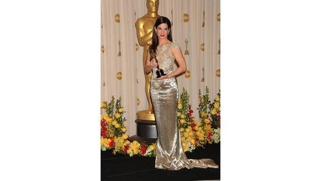 In einem mit Perlen bestickten Kleid von Marchesa sah Sandra Bullock einfach wunderschön aus. (Bild: Viennareport)