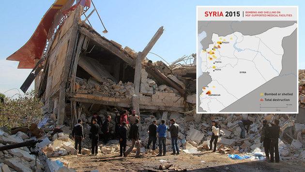 2015 wurden über 60 Spitäler in Syrien angegriffen (Bild: APA/AFP/MSF/SAM TAYLOR, MSF)