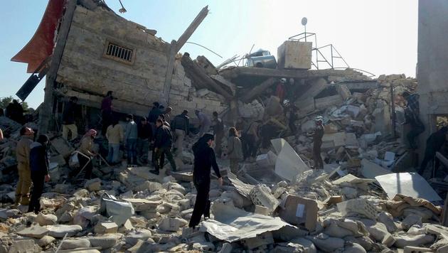 Das zerstörte Krankenhaus in Idlib (Bild: APA/AFP/MSF/SAM TAYLOR)