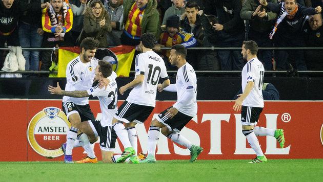 Spanischer Jubel nach dem 1:0 durch Santi Mina! (Bild: APA/GEORG HOCHMUTH)