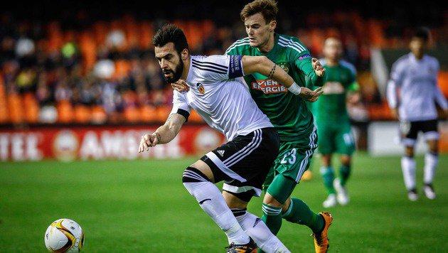 Beim EL-Duell mit Rapid waren die Valencia-Kicker noch auf der Erfolgswelle. (Bild: APA/AFP/BIEL ALINO)