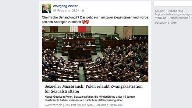 """""""Sexualstraftäter mit Ziegelsteinen kastrieren"""" (Bild: facebook.com)"""