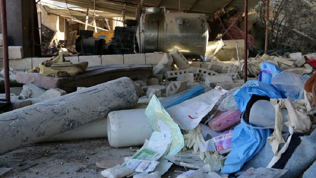Das zerstörte Krankenhaus in Idlib (Bild: APA/AFP/MSF/STRINGER)