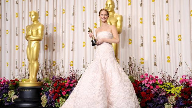 Jennifer Lawrence erschien zur Verleihung der Academy Awards 2013 in einer ausladenden Dior-Robe. (Bild: Viennareport)