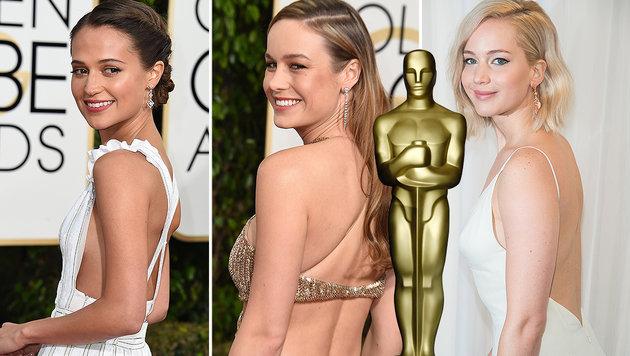 Alicia Vikander, Brie Larson und Jennifer Lawrence sind für den Oscar nominiert. (Bild: AFP, EPA, AP)