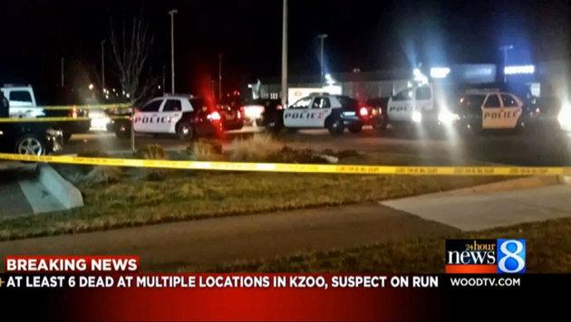 Großes Polizeiaufgebot an einem der Tatorte (Bild: Wood-TV 8)