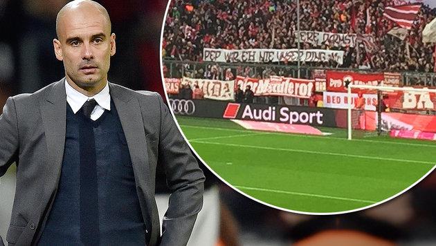 """Verwirrung um """"Anti-Pep-Banner"""" der Bayern-Fans (Bild: AP, twitter.com)"""
