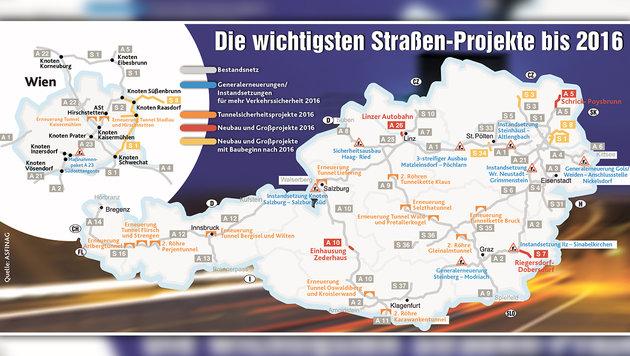 Eine Milliarde Euro für Österreichs Straßennetz (Bild: Krone-Grafik)