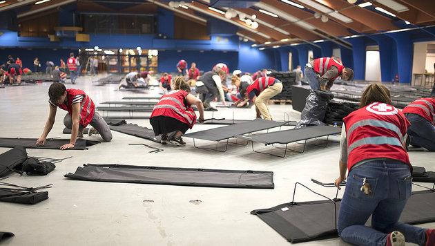 Das Flüchtlingsquartier in Unterpremstätten nahe Graz wird aufgelöst. (Bild: APA/Erwin Scheriau)