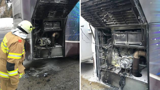 Reisebus in Flammen: 35 deutsche Schüler gerettet (Bild: FF Obertauern)