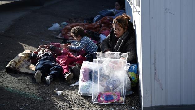 Afghanische Migranten in Idomeni (Bild: AP)
