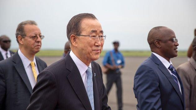 """UN-Generalsekretär Ban Ki Moon sieht einen """"bedeutenden Schritt nach vorne"""". (Bild: APA/AFP/GRIFF TAPPER)"""
