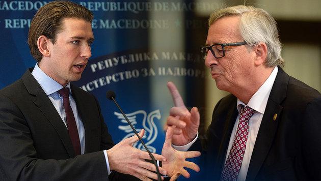 Außenminister Kurz und Kommissionspräsident Jean-Claude Juncker (Bild: AFP/Robert Atanasovski, AFP/Thierry Charlier)