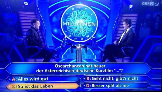 """""""Millionenshow""""-Kandidat Uwe Neuhold scheiterte an der Frage nach der heimischen Oscar-Hoffnung. (Bild: ORF)"""