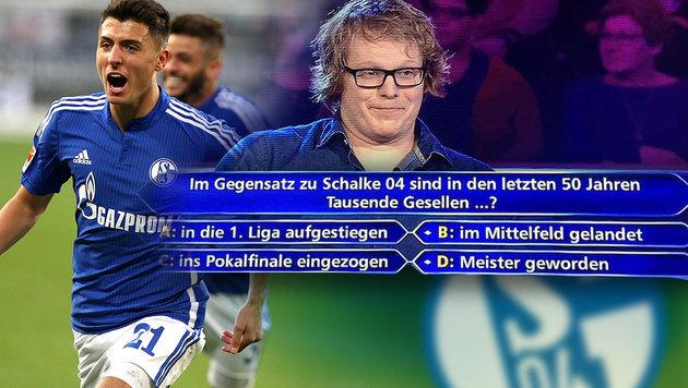 """RTL verarscht Schalke 04 bei """"Wer wird Millionär?"""" (Bild: GEPA, RTL)"""