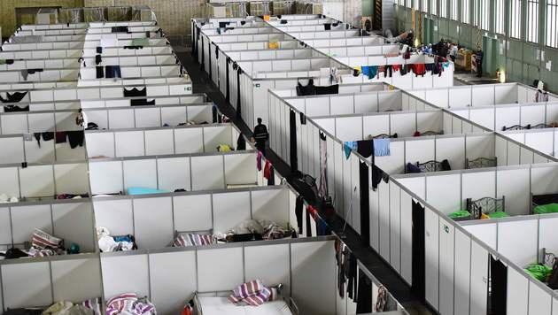 Fl�chtlingsunterkunft am Gel�nde des ehemaligen Flughafens Berlin-Tempelhof (Bild: APA/AFP/TOBIAS SCHWARZ)