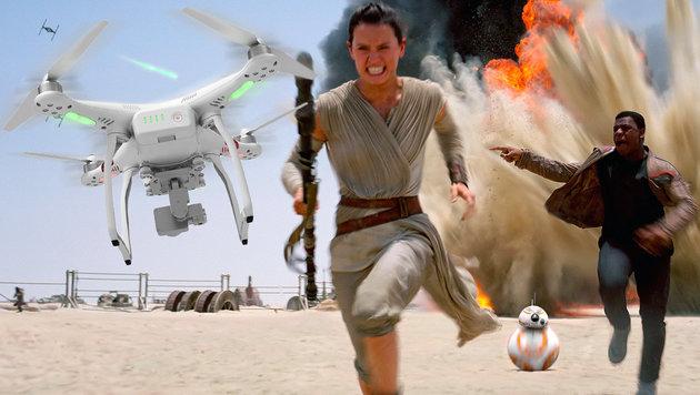 """Krieg der Drohnen am Set zum neuen """"Star Wars""""? (Bild: DJI, AP)"""