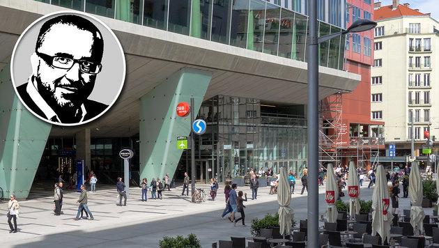 """Blutiger Überfall im Wiener Einkaufszentrum """"The Mall"""": 4 Männer wurden von 5 Afghanen attackiert. (Bild: Gugerell/Wikimedia Commens, Krone-Grafik)"""