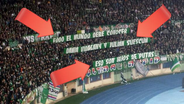 Rapid-Fans: Plakat-Skandal! Drohung, Beschimpfung (Bild: Sportkrone.at)