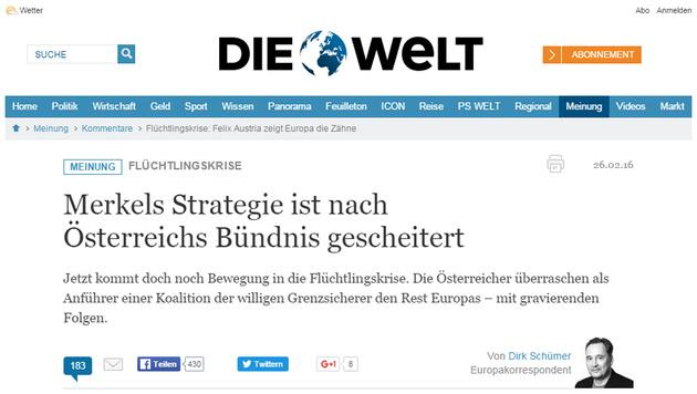 """Jetzt doch: Deutsches Lob für unsere Asylpolitik (Bild: Screenshot """"Die Welt"""")"""