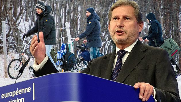 Hahn vermutet Russland hinter Flüchtlingsansturm (Bild: APA/AFP/EMMANUEL DUNAND, APA/AFP/JONATHAN NACKSTRAND)