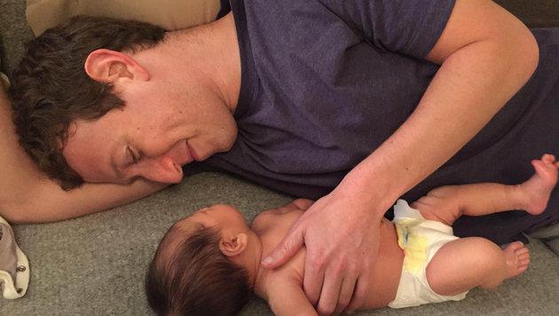 Mark Zuckerberg: Kuschelzeit mit Töchterchen Max (Bild: Viennareport)