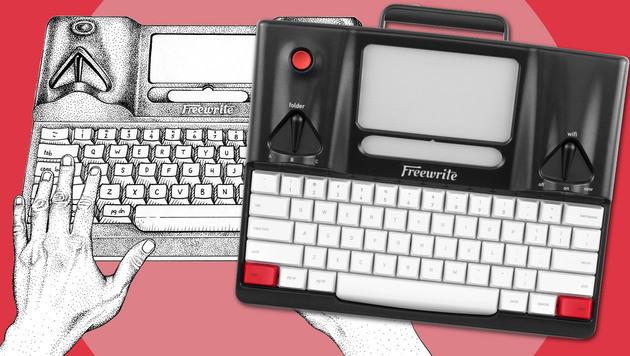Smarte Schreibmaschine für ablenkungsfreies Tippen (Bild: getfreewrite.com, krone.at-Grafik)