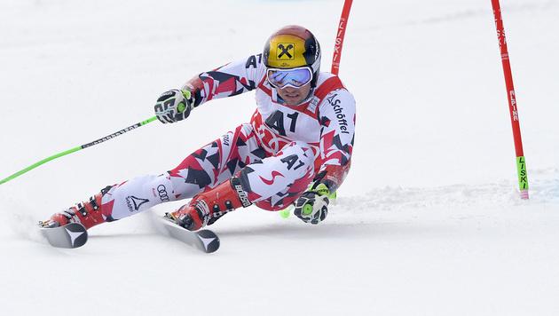 """Volldodel"" Hirscher dank famosem Lauf Zweiter (Bild: APA/AFP/SAMUEL KUBANI)"