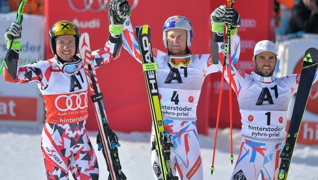 Siegerfoto: Pinturlaut (Mitte), Hirscher (links), Fanara (Bild: APA/BARBARA GINDL)