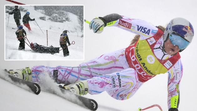 Lindsey Vonn: R�tselraten um ihr Knie (Bild: APA/AFP/JAVIER SORIANO, AP)