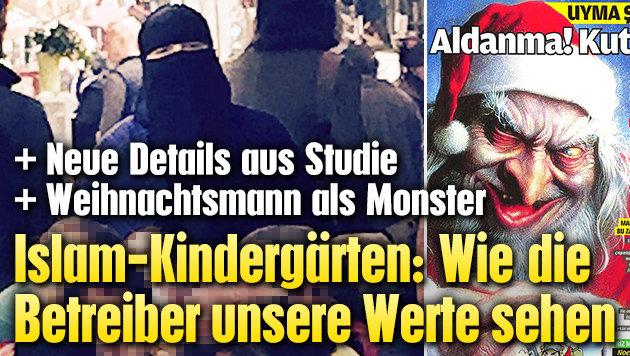 Islam-Propaganda: Weihnachtsmann als Monster (Bild: Krone)