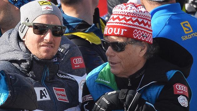 Schröcksnadel mit Hirscher, der am Samstag die Ehre der Speed-Herren rettete (Bild: APA/BARBARA GINDL)