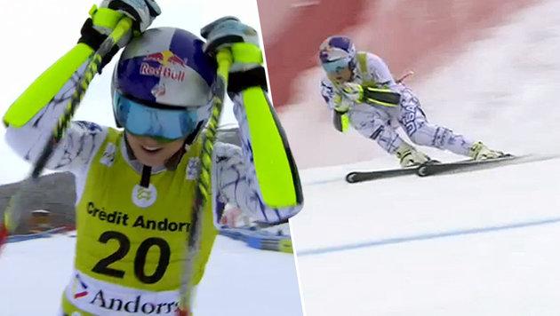 """""""Schauspielerin"""" Vonn fällt im Slalom weit zurück! (Bild: ORF)"""