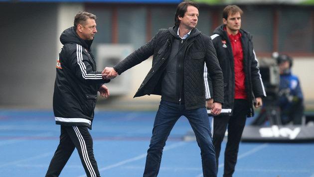 Die Trainer Zoran Barisic (Rapid) und Peter Schöttel (Grödig) (Bild: GEPA)