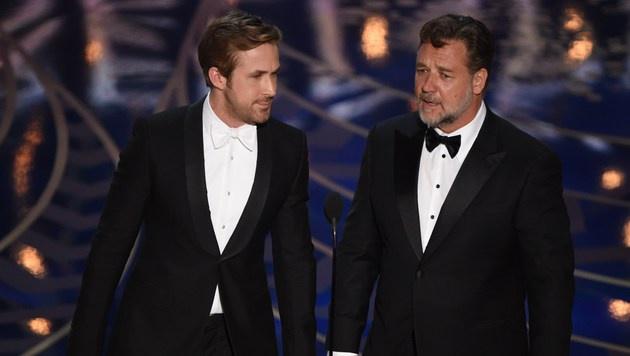 Ryan Gosling und Russell Crowe (Bild: APA/AFP/MARK RALSTON)