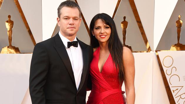 Matt Damon mit Ehefrau Luciana Barroso (Bild: Jordan Strauss/Invision/AP)