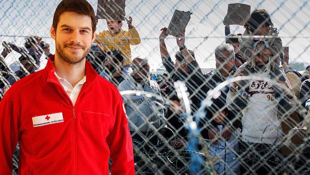 Rotkreuz-Koordinator Christopher Bachtrog (Bild: APA/AFP/Robert Atanasovski, �sterreichisches Rotes Kreuz)