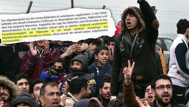 """""""�sterreich wird zur riesigen Asyl-Wartezone"""" (Bild: APA/AFP/LOUISA GOULIAMAKI)"""