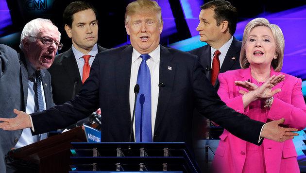 Sanders, Rubio, Trump, Cruz, Clinton (v.l.) (Bild: APA/AFP/JOHN GURZINSKI, ASSOCIATED PRESS)