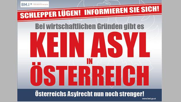 Mit diesen Plakaten will das Innenministerium potenzielle Migranten informieren. (Bild: BMI)