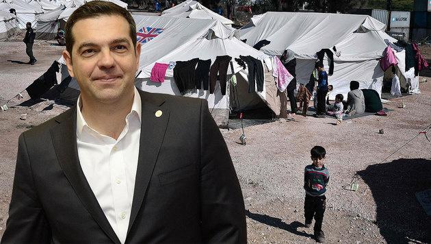Griechenland will jetzt 480 Millionen Euro von EU (Bild: APA/AFP/LOUISA GOULIAMAKI, APA/AFP/THIERRY CHARLIER)