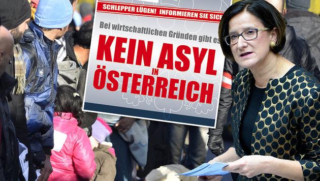"""Mikl-Leitner plakatiert: """"Die Schlepper lügen!"""" (Bild: APA/HARALD SCHNEIDER, BMI, APA/ROLAND SCHLAGER)"""