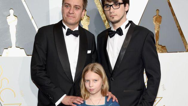 Patrick Vollrath mit Julia Pointner und Sebastian Thaler bei den Oscars (Bild: APA/AFP/GETTY IMAGES/Ethan Miller)