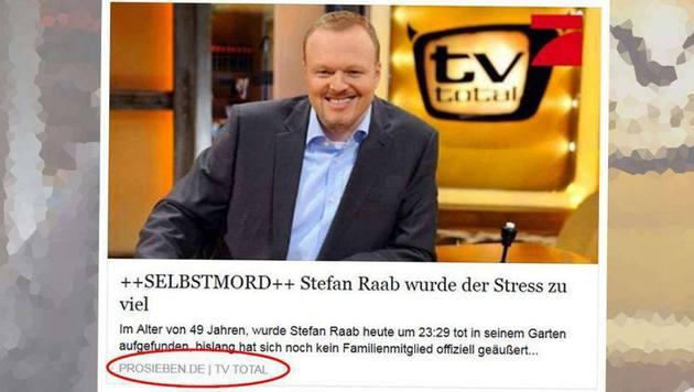 Stefan Raab tot? Vorsicht, Facebook-Falle! (Bild: Facebook/bild.de)