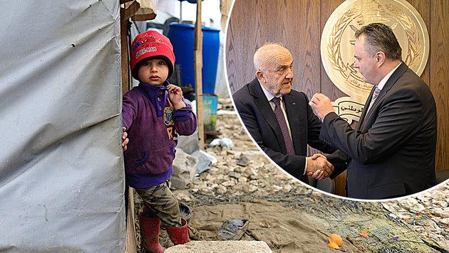 Verteidigungsminister Hans Peter Doskozil mit seinem libanesischen Amtskollegen Samir Moqbel (Bild: Bundesheer/Pusch, AP)