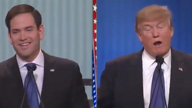 Rubio (links) lieferte sich mit Trump einen heftigen Schlagabtausch. (Bild: YouTube.com)