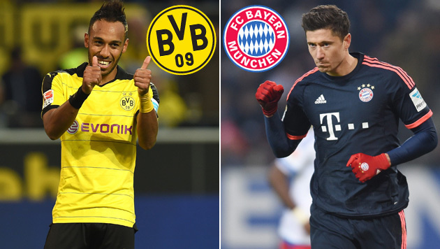 Dortmunds Pierre-Emerick Aubameyang (links) und Bayerns Robert Lewandowski (Bild: GEPA, APA/AFP/PATRIK STOLLARZ)