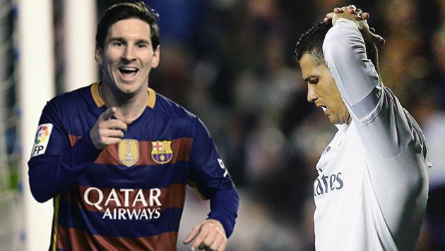 Messi attackiert Cristiano Ronaldo mit Triplepack! (Bild: APA/AFP/JOSE JORDAN, AP)
