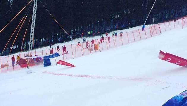 Starker Wind verbläst Damen-Riesentorlauf (Bild: facebook.com)